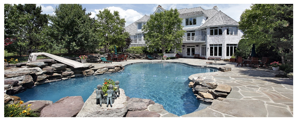 Stone Siding Home with Swimming Pool